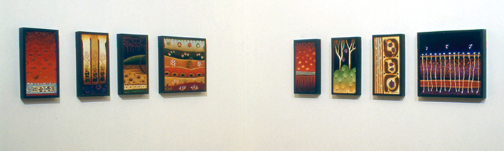 common ground  series of 15 paintings  acrylic and oil on board 30 x 15cm, 30 x 30cm