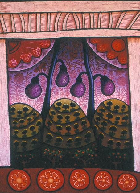 aubergine with tomato - Andalucia  oil stick on paper 80 x 60cm