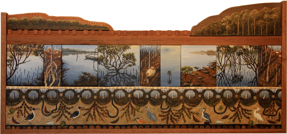 tidal zone V. mud and mangroves  oil on timber panels 39 x 82cm