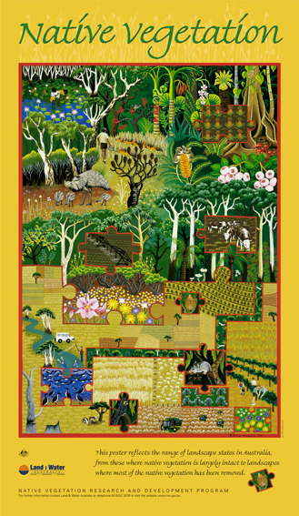 2001  Land and Water Australia  - Native Remnant Vegetation poster gouache on paper 85 x 60cm