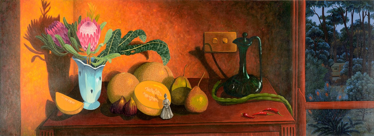 autumn still life (too many rockmelons)   gouache and wax on board 130.5 x 42.5cm