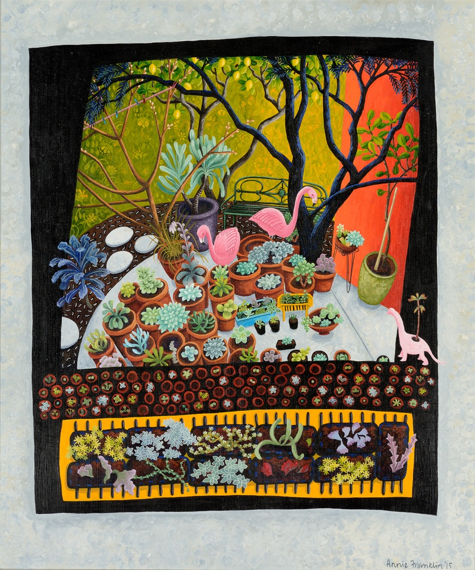 Judy's garden   gouache and wax on board 49 x 42cm