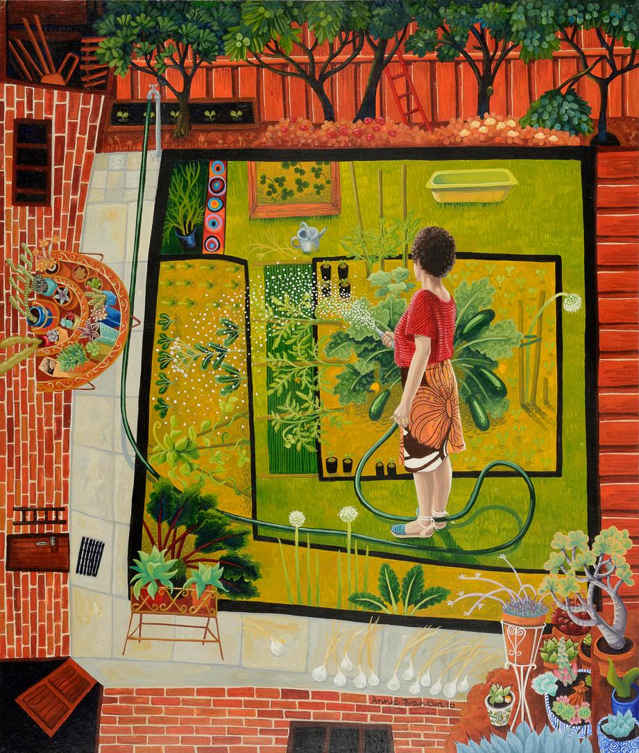 Celia's garden   gouache and wax on board 49 x 42cm