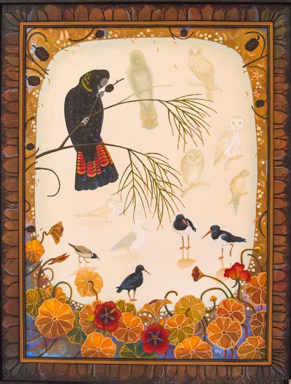 bird shadows   gouache and wax on board 65 x 48cm