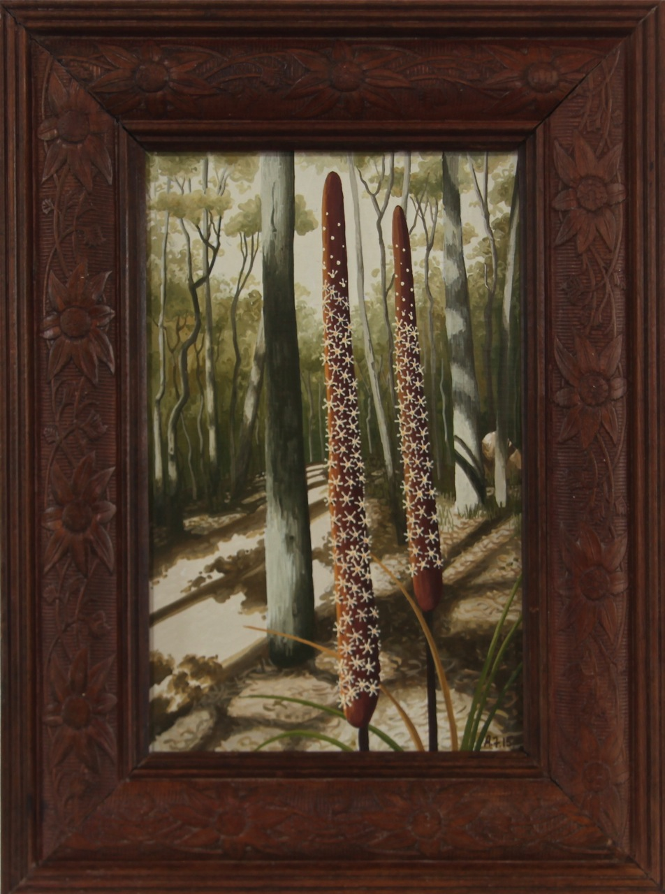 roadside xanthorreia   gouache and wax on board 27 x 20cm