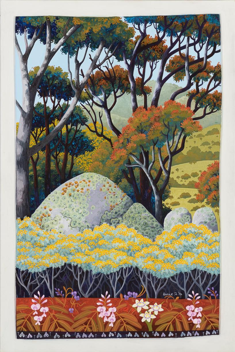 wattle and wildflowers, Tidbinbilla    gouache and wax on board 49 x 33.5cm