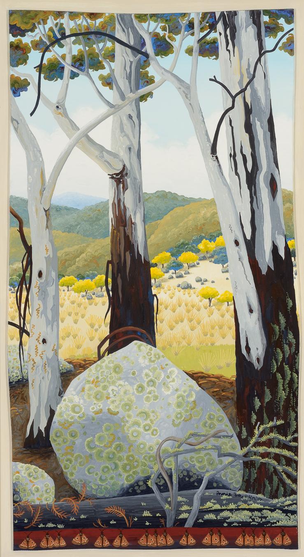 granite and lichen, Monaro plains    gouache and wax on board  49 x 29.5cm