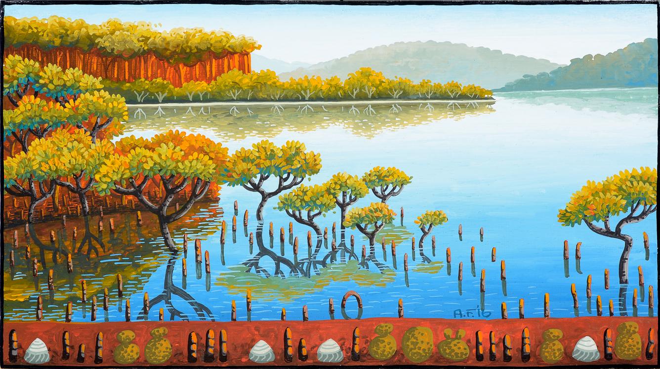 backyard lifecycle XI    gouache and wax on Tasmanian oak   16.5 x 27cm