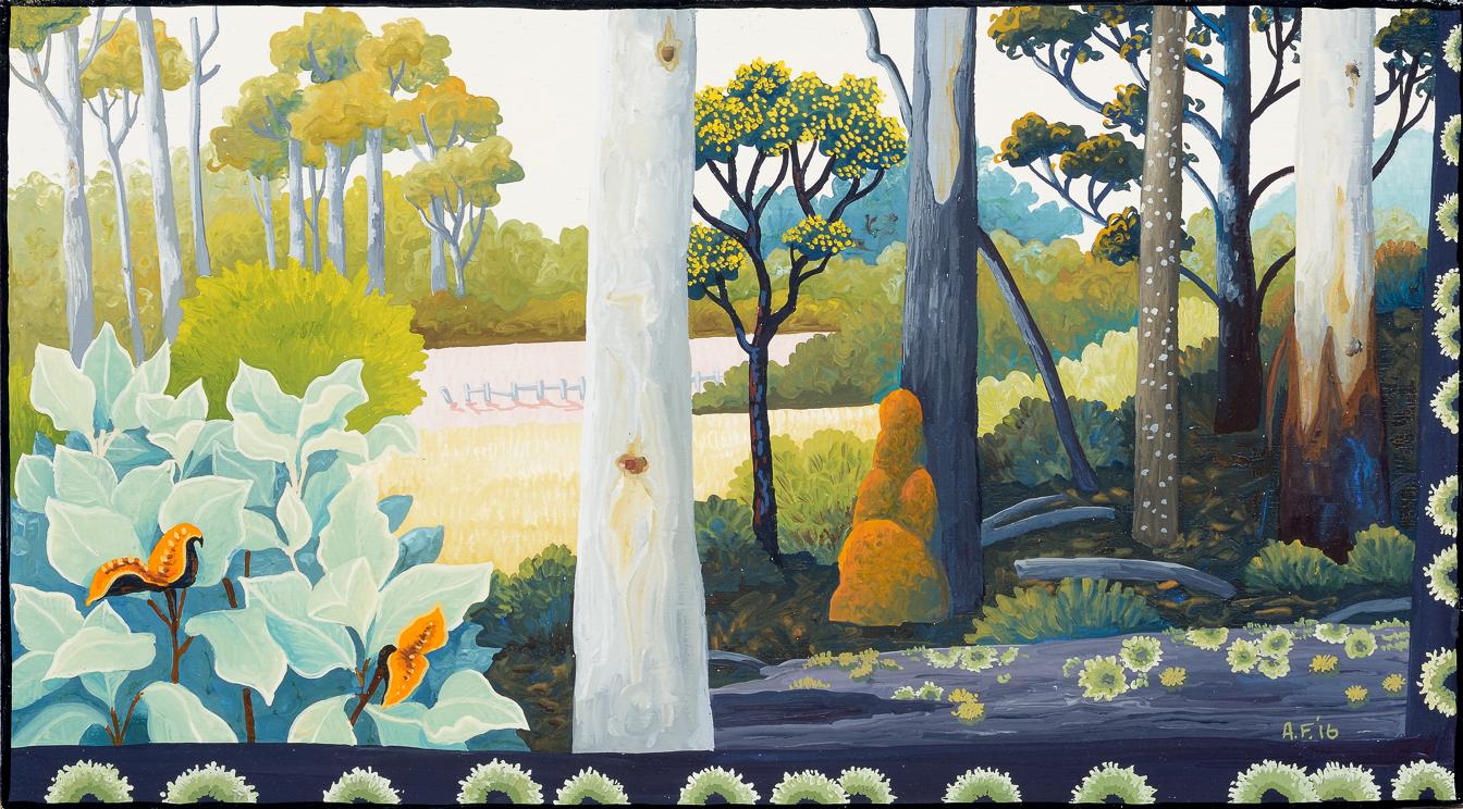 backyard lifecycle III    gouache and wax on Tasmanian oak   16.5 x 27cm