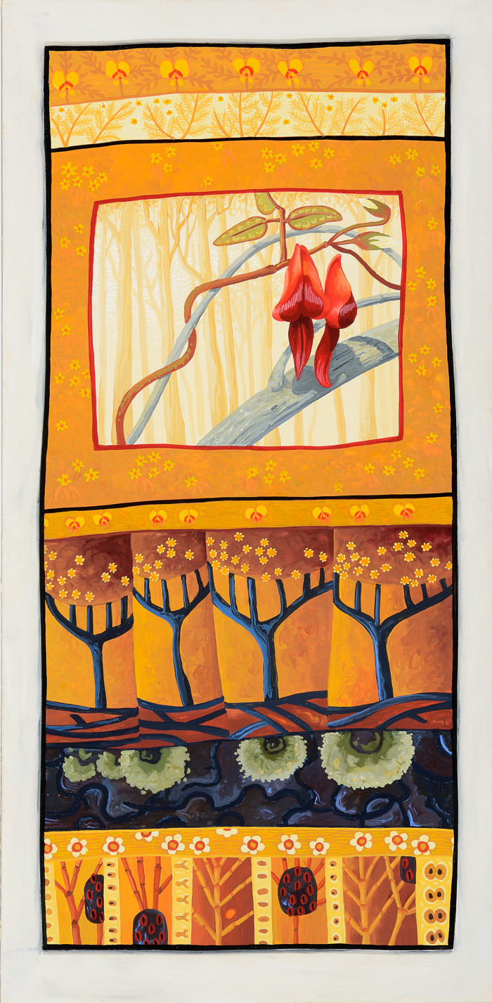 pioneers   gouache and wax on board 48.5 x 25.5cm
