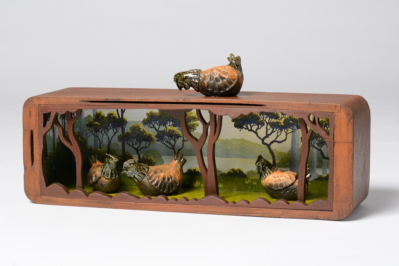 free range 2018   gouache and wax on wood, raku fired ceramics 16.5 (variable) x 36.5 x 10cm