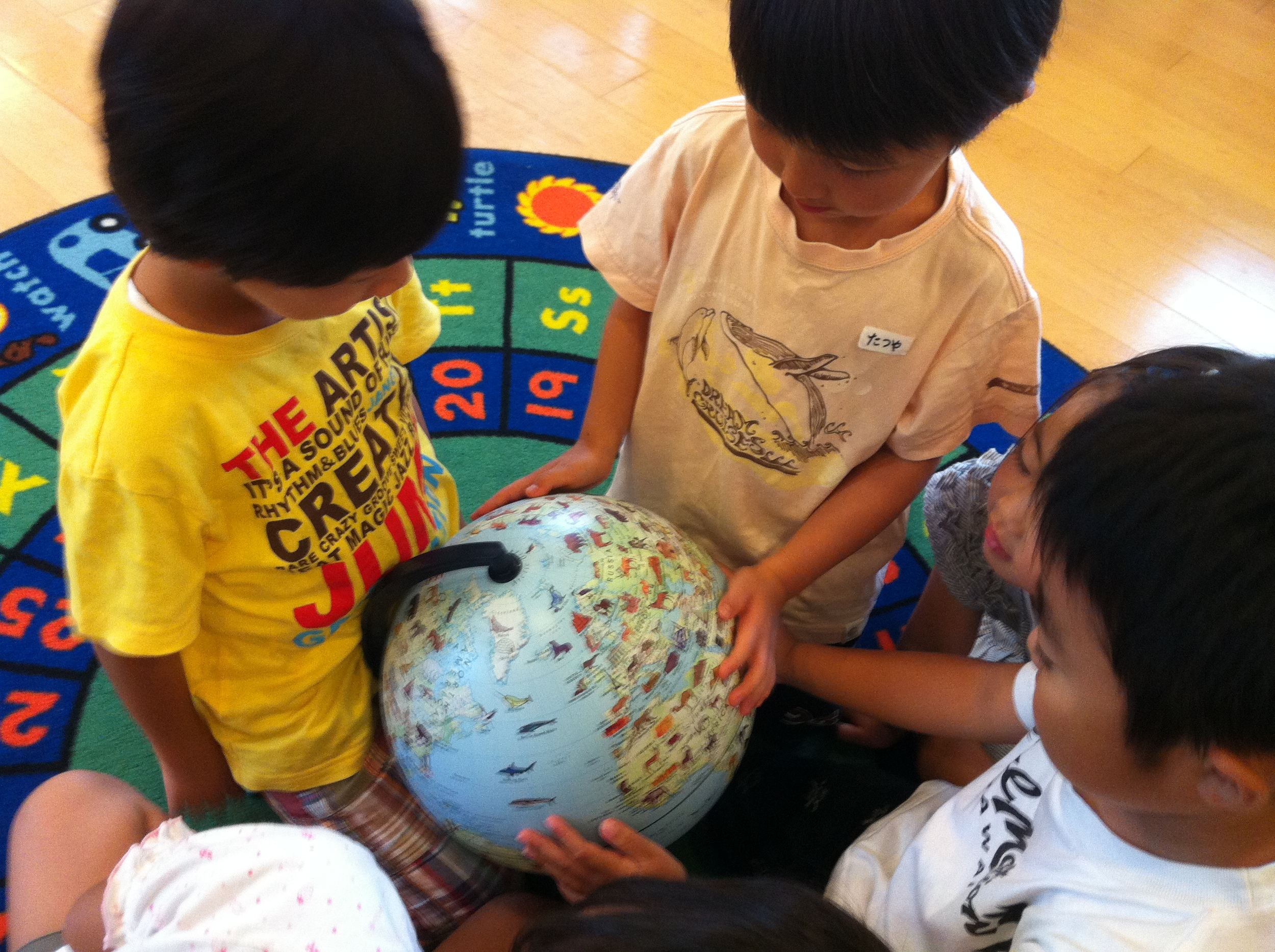 Using a globe to find where animals live.