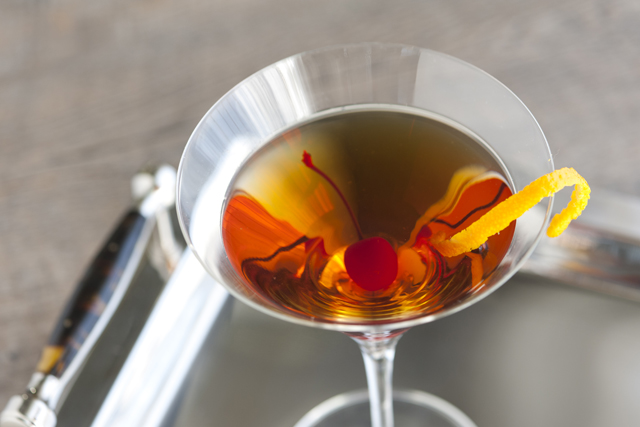 The Manhattan Cocktail - in a martini glass or lowball