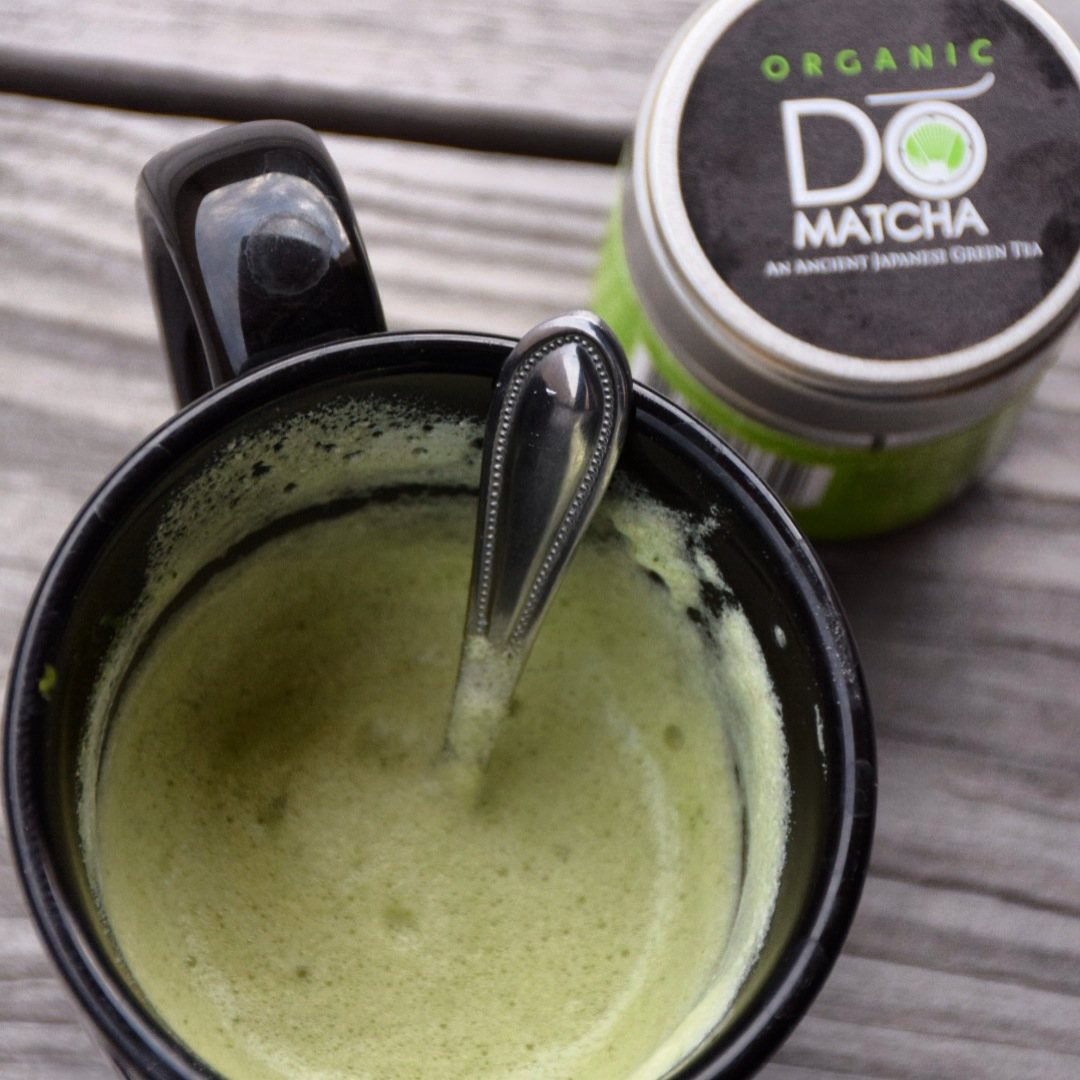 My new favorite morning elixir -- Matcha Green tea with steamed Almond Milk and Stevia