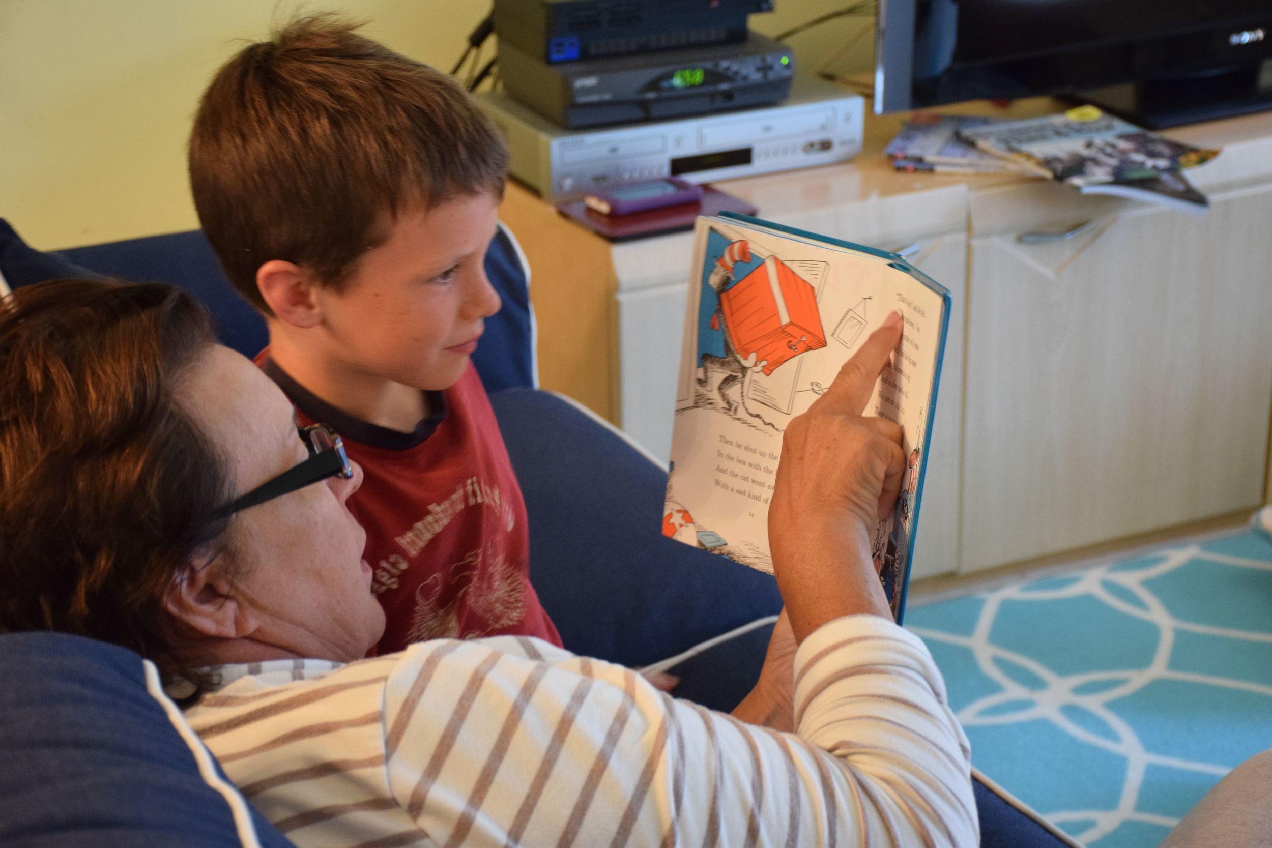 Grandma reading to Connor