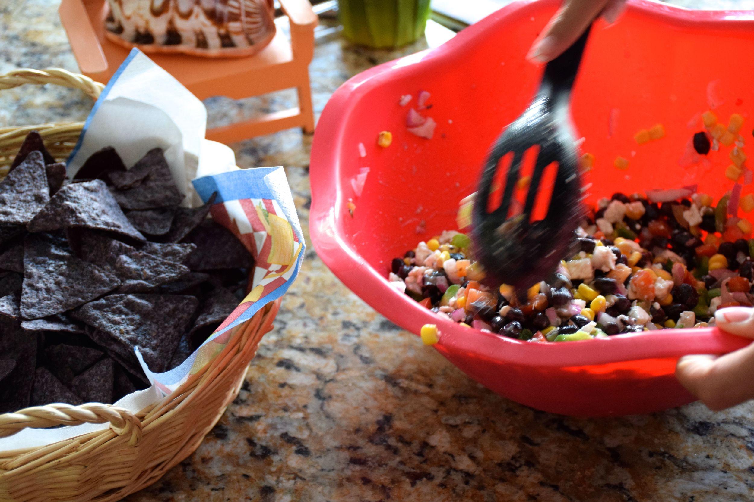 Homemade black bean salsa and blue chips