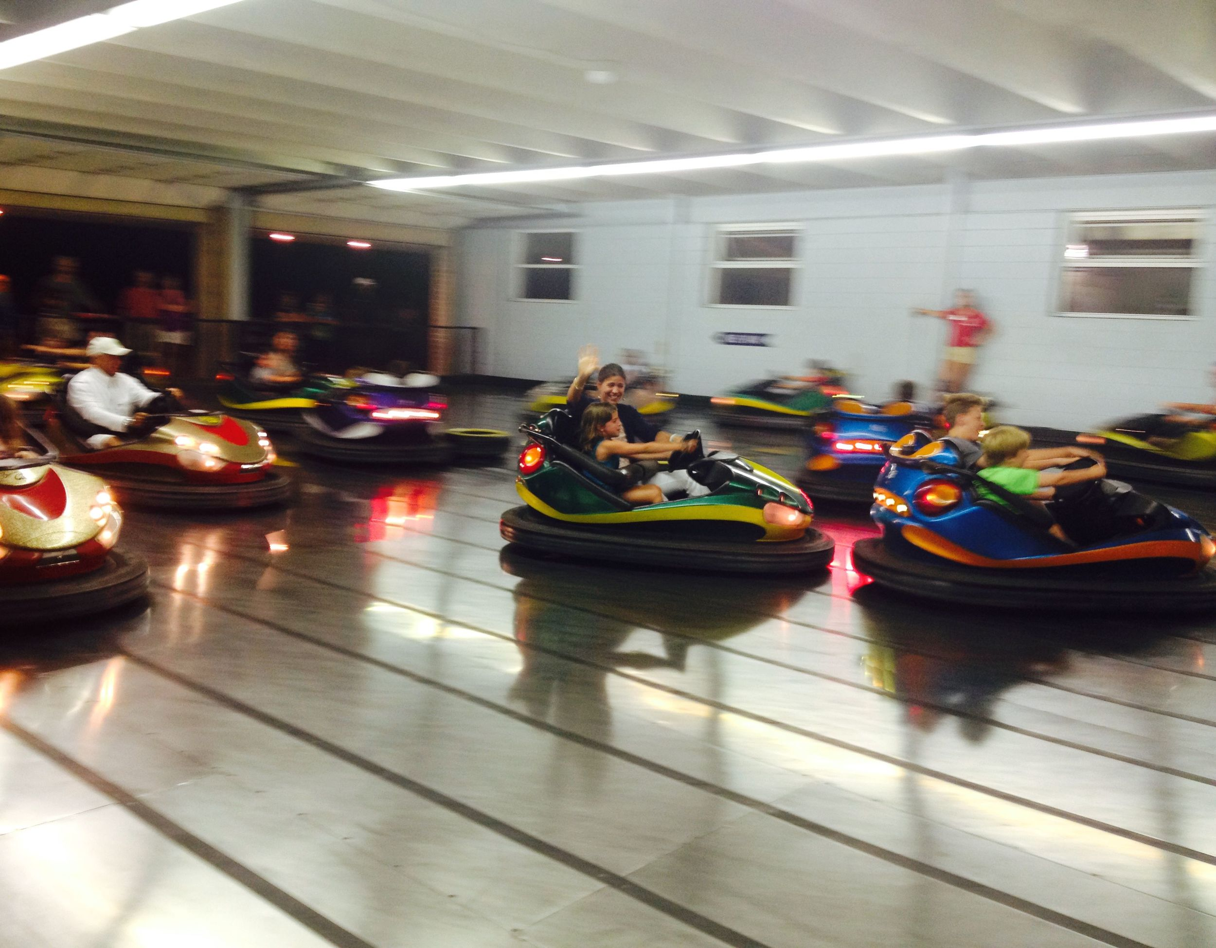 Whitney and Taylor on the bumper cars