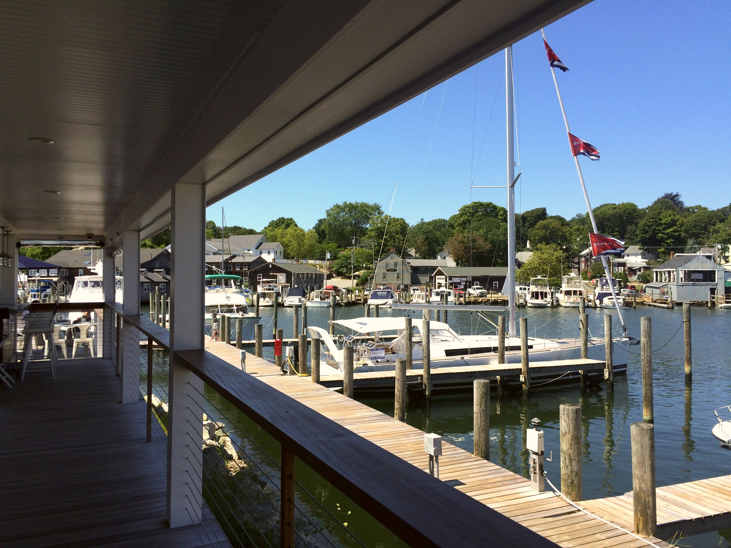 Mystic Seaport: Our view from Red 36, a restaurant situated right on the Mystic River.