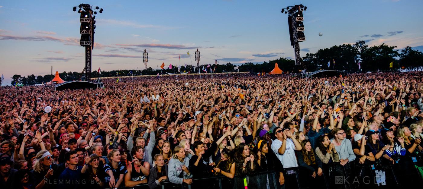 Spectators at Orange Stage at Roskilde Festival in Roskilde, Denmark on June 30, 2016