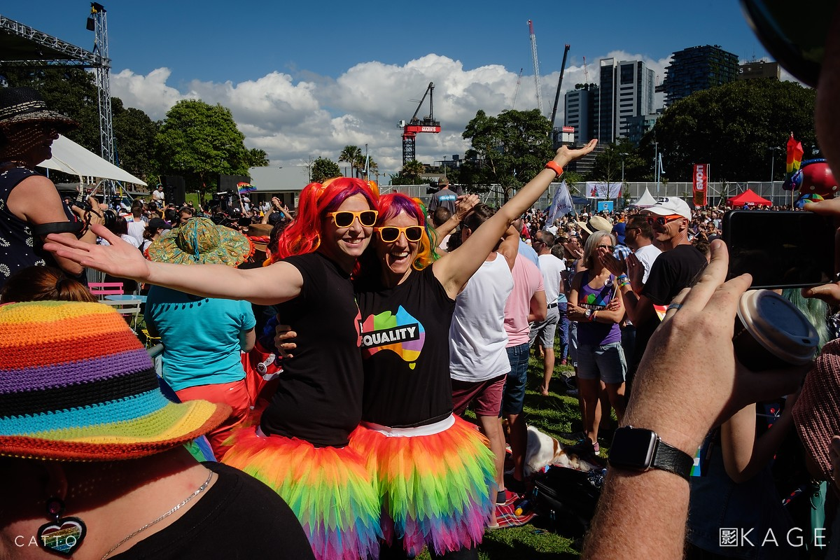 Crowds wait to hear the result of Australia's postal survey on marriage equality in Sydney.