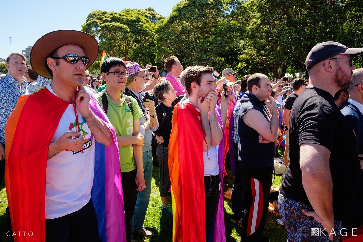 Yes supporters nervously wait to hear the result of Australia's postal survey on marriage equality, in Sydney.