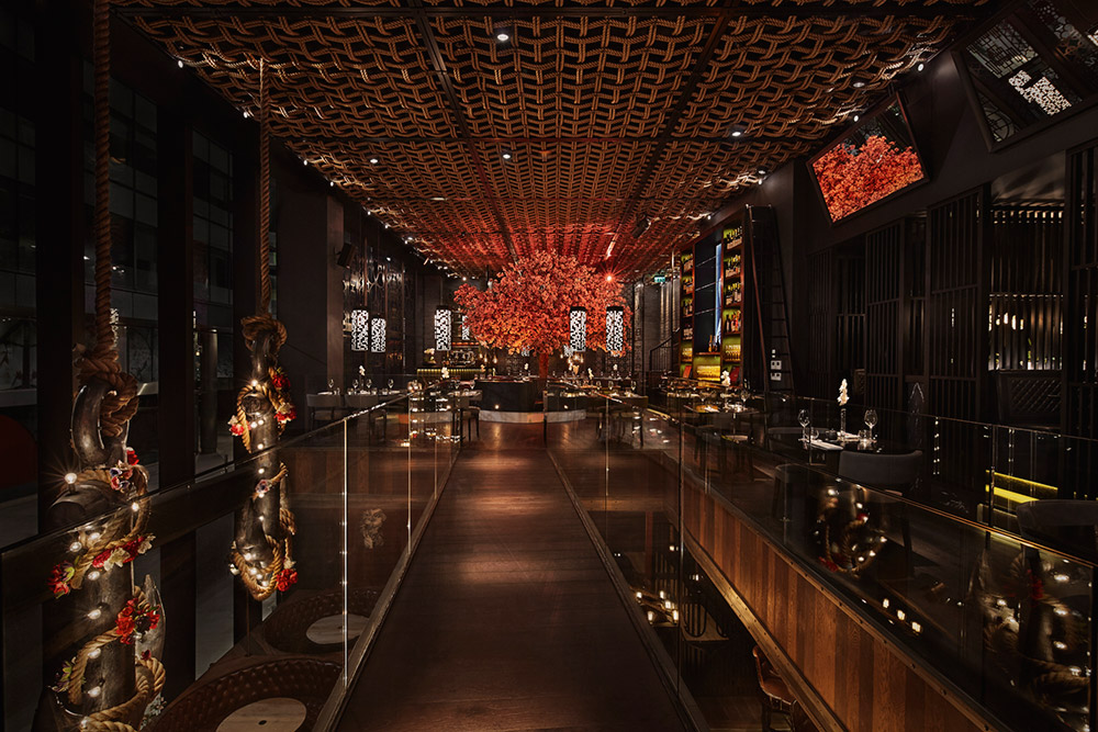 Tattu Manchester - Rope Ceiling and Glass Balustrade
