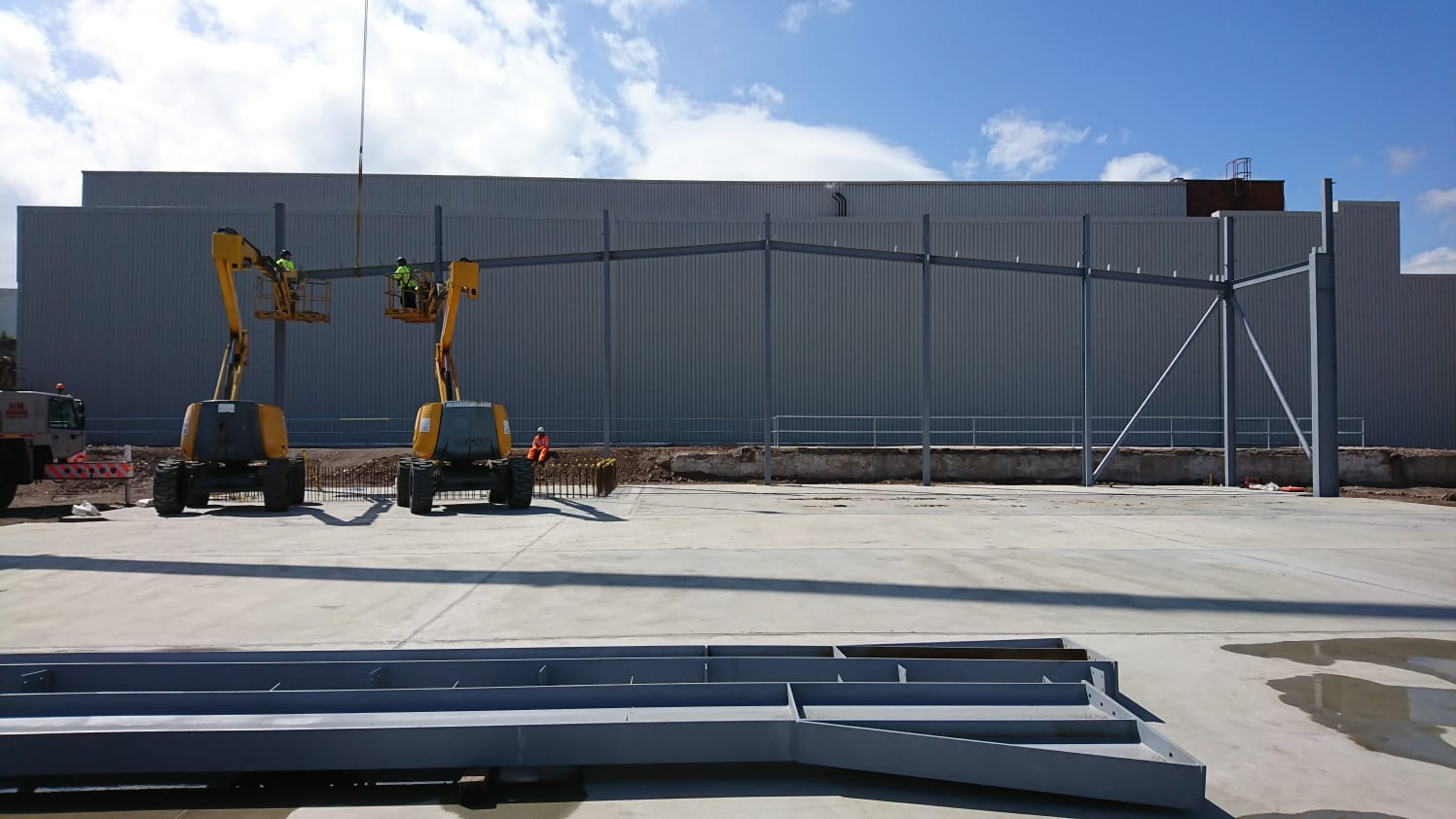 The start of the steel structure being put into place, creating the frame work of the energy centre.
