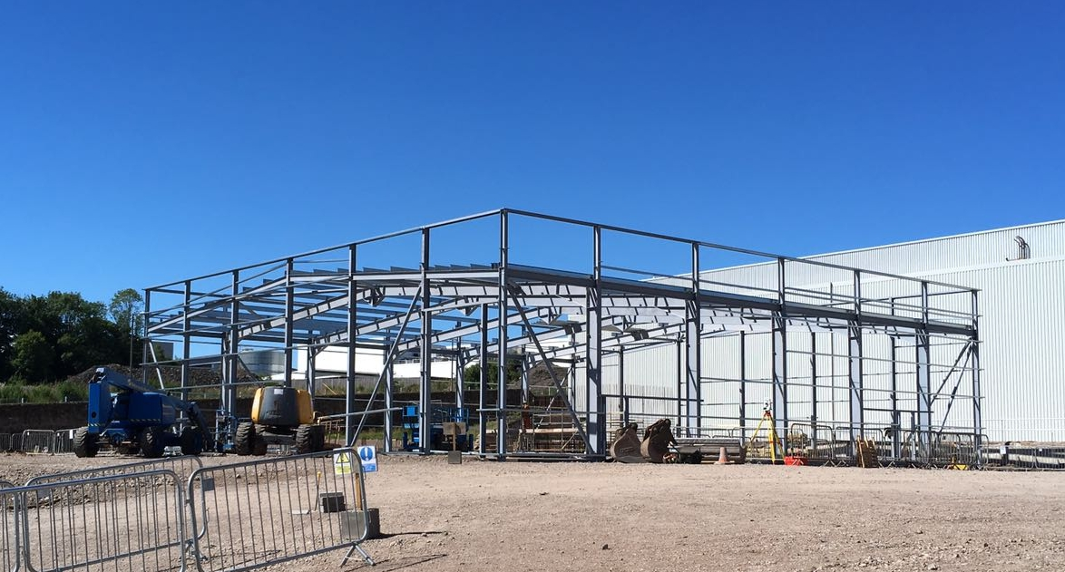 Finished steel structure creating the base framework of the energy centre, allowing for the roof and walls to be added to create a water sealed building.