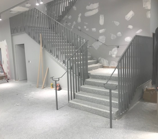 All the steel balustrade and stairway is completed, awaiting the wooden hand rail to go over the steel balustrade.