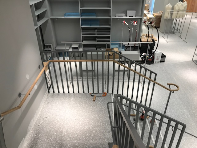 The steel balustrade system and staircase nearing completion.
