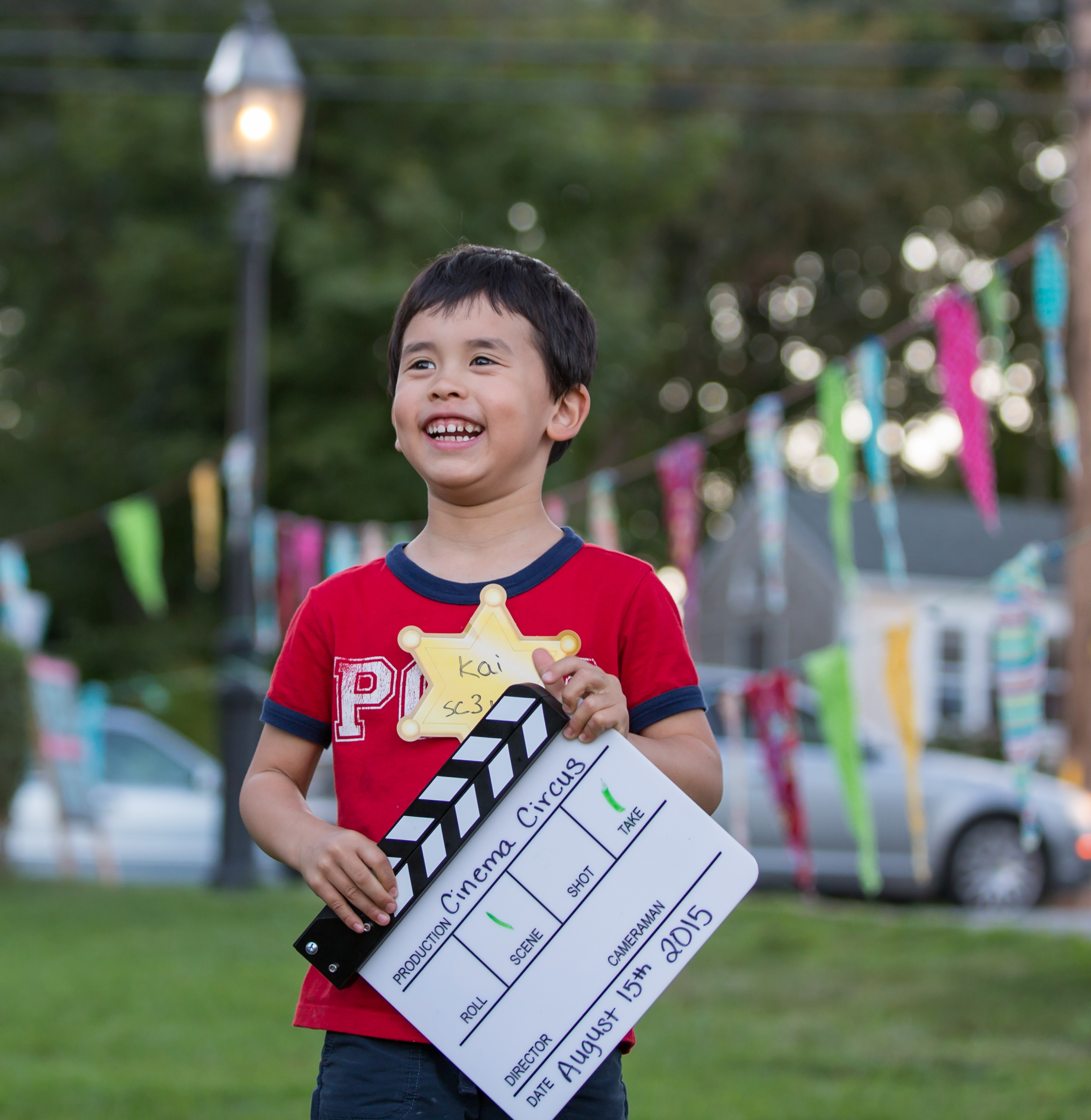 Kids film and star in a short film during the free workshop before the screening of BECOMING BULLETPROOF on August 13, 2015, at Owen Park in Vineyard Haven.Photo by Maria Thibodeau.