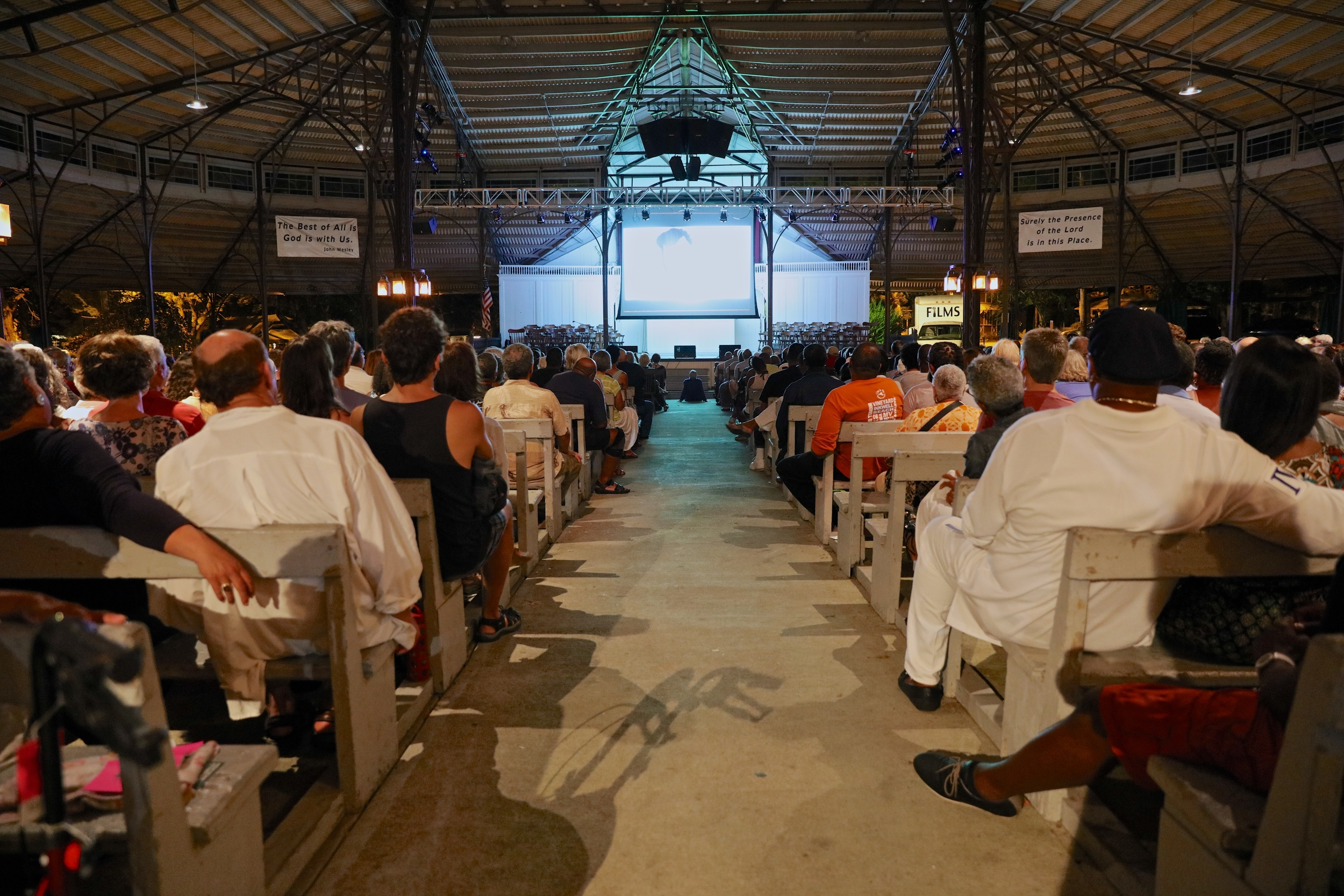 The screening of THE BLACK PANTHERS: VANGUARD OF THE REVOLUTION, with director Stanley Nelson, former Black Panther Kathleen Cleaver, and Professor Henry Louis Gates, Jr., on August 3, 2015,at the Tabernacle in Oak Bluffs. Photo by Reece Robinson.