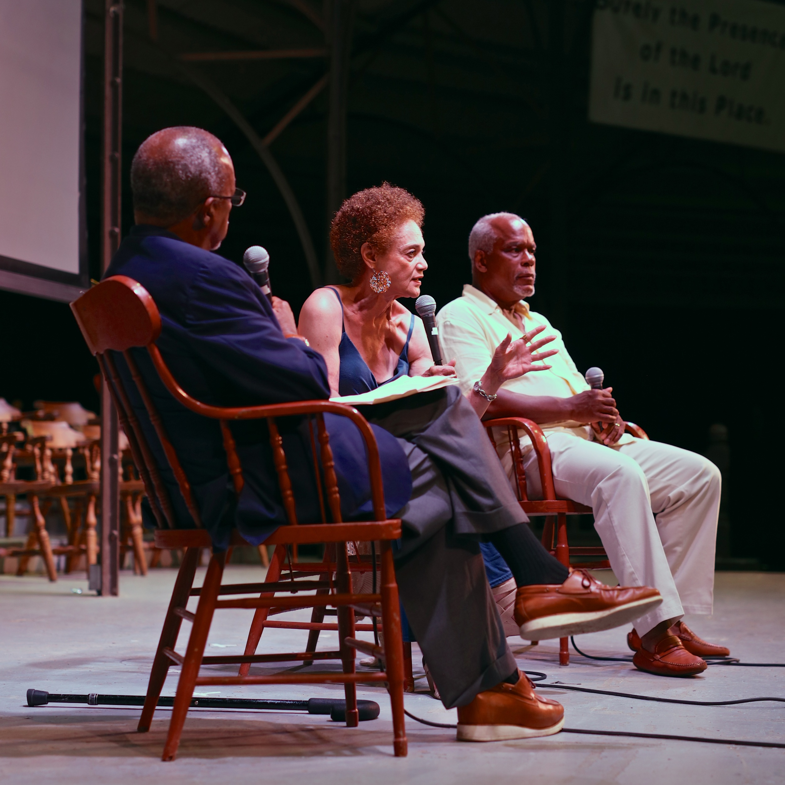 Director Stanley Nelson, former Black Panther Kathleen Cleaver, and Professor Henry Louis Gates, Jr. speak after the screening of THE BLACK PANTHERS: VANGUARD OF THE REVOLUTION on August 3, 2015,at the Tabernacle in Oak Bluffs. Photo by Reece Robinson.
