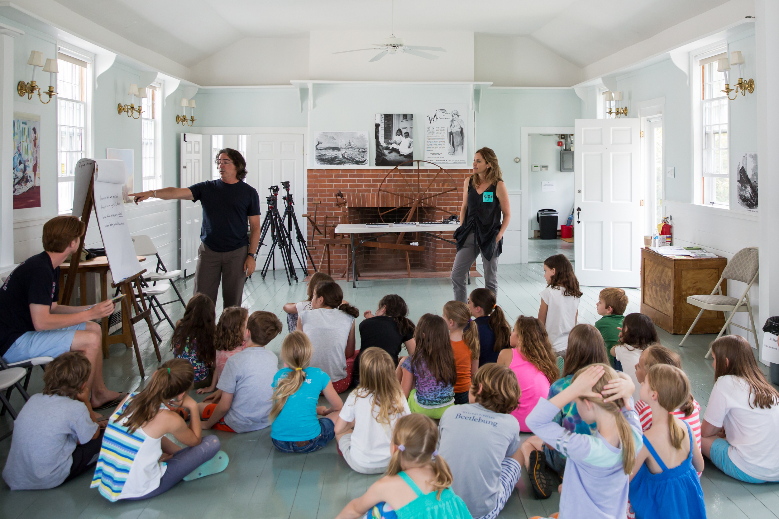 Actress Amy Brenneman and director Brad Silberling teach a free workshop for kids on July 9, 2015. Photo by Maria Thibodeau.