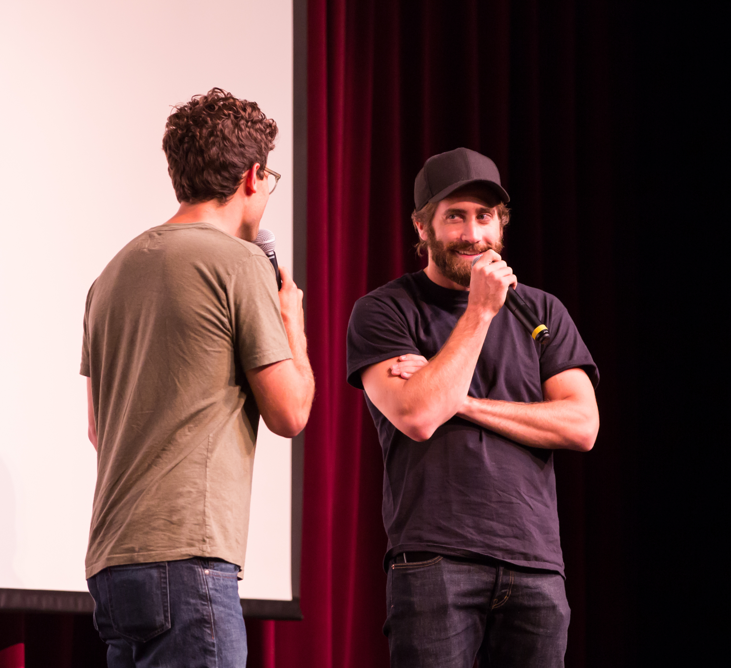 Moderator Jacob Soboroff and actor Jake Gyllenhaal in the Q&A after the screening of SOUTHPAW on July 5, 2015. Photo by Maria Thibodeau