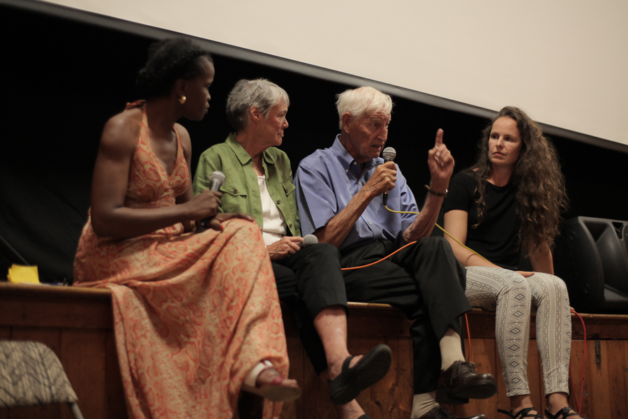 Moderator Misan Sagay, film subjects Bonnie and John Raines, and director Johanna Hamilton take the stage after the screening of 1971 on August 12, 2015. Photo by Love Ablan.