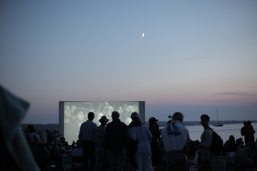 The free outdoor screening of RACING EXTINCTION on August 18, 2015,with director Louie Psihoyos at Menemsha Beach in Chilmark. Photo by Love Ablan.