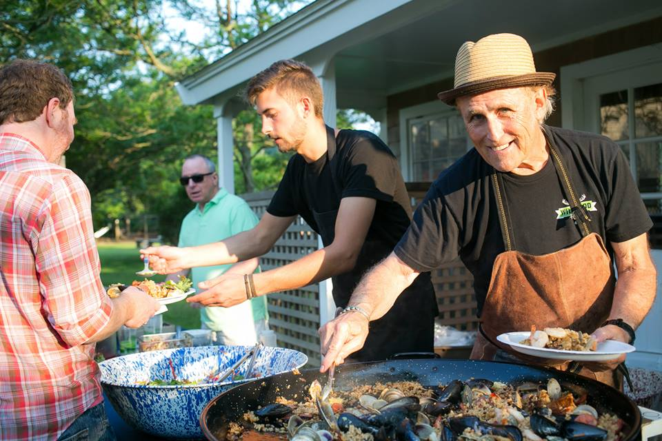 Jan Buhrman's Kitchen Porch Catering serves up dinner outside before a Wednesday night screening at the Chilmark Community Center. Photo by Anthony Esposito.