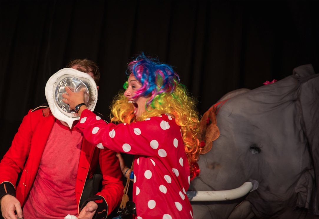 The Ringmaster gets a pie in the face during CINEMA CIRCUS on August 15, 2015,at the Grange Hall in West Tisbury.Photo by Maria Thibodeau.