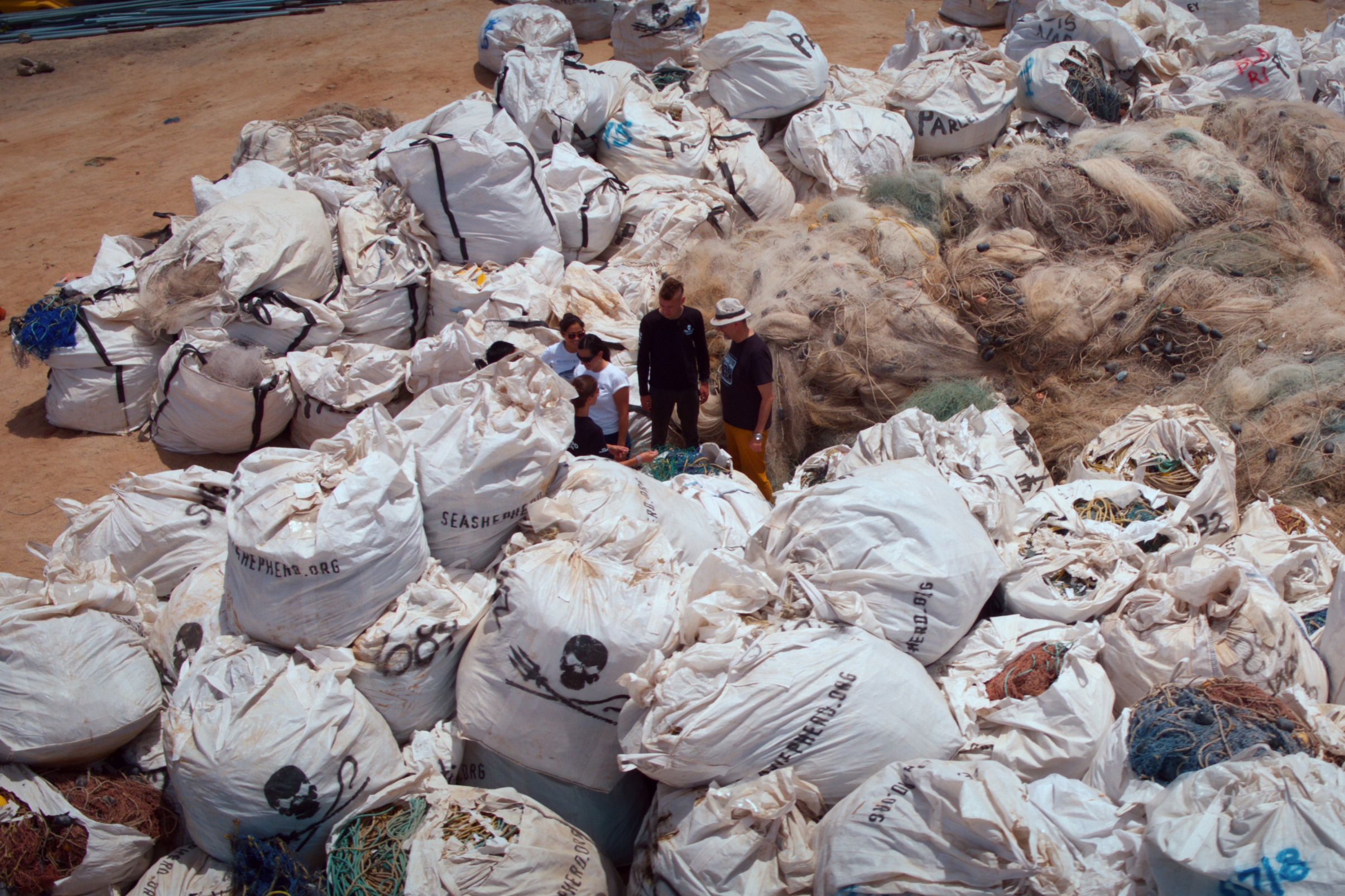 The ghost net retrieval compound outside San Felipe where hundreds of illegal nets are stored and later destroye.jpg