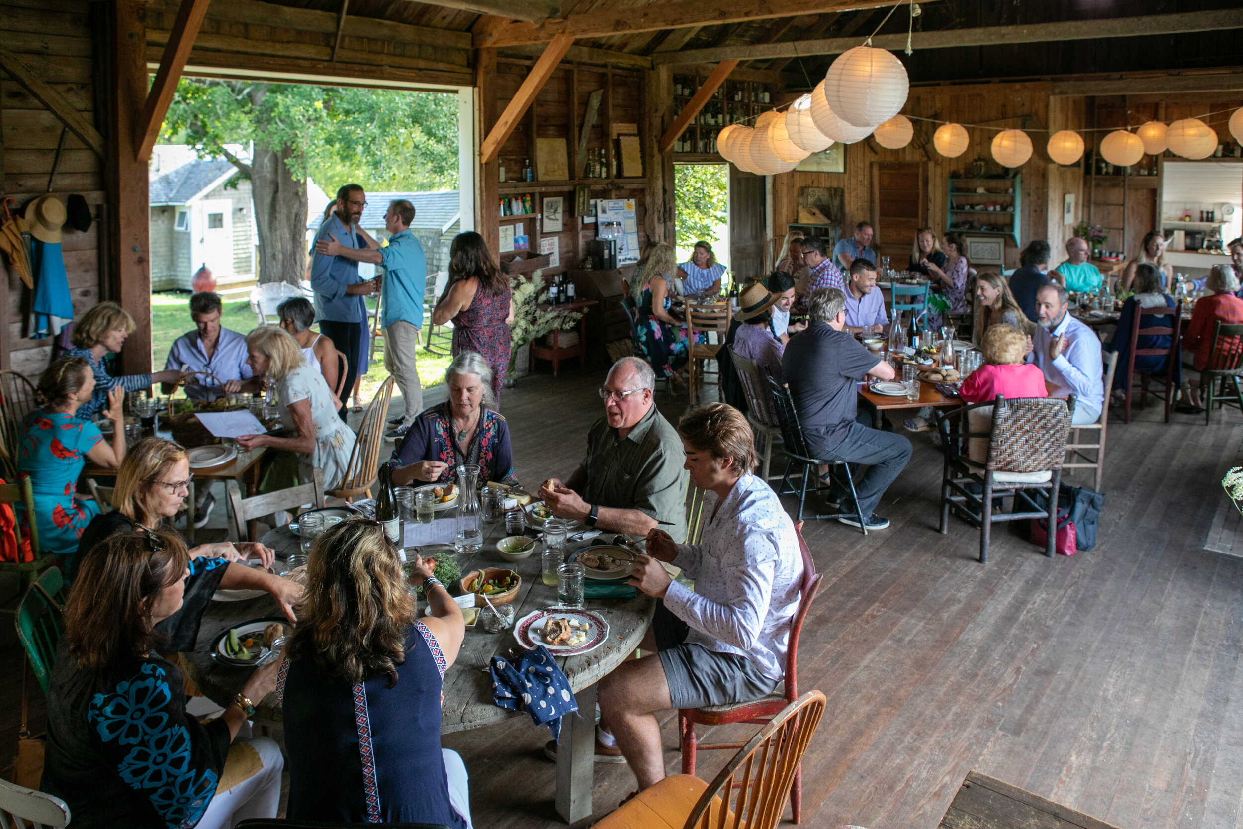 Dinner with Dr. Ruth at the Barn House. Photo by Joshua Robinson-White.
