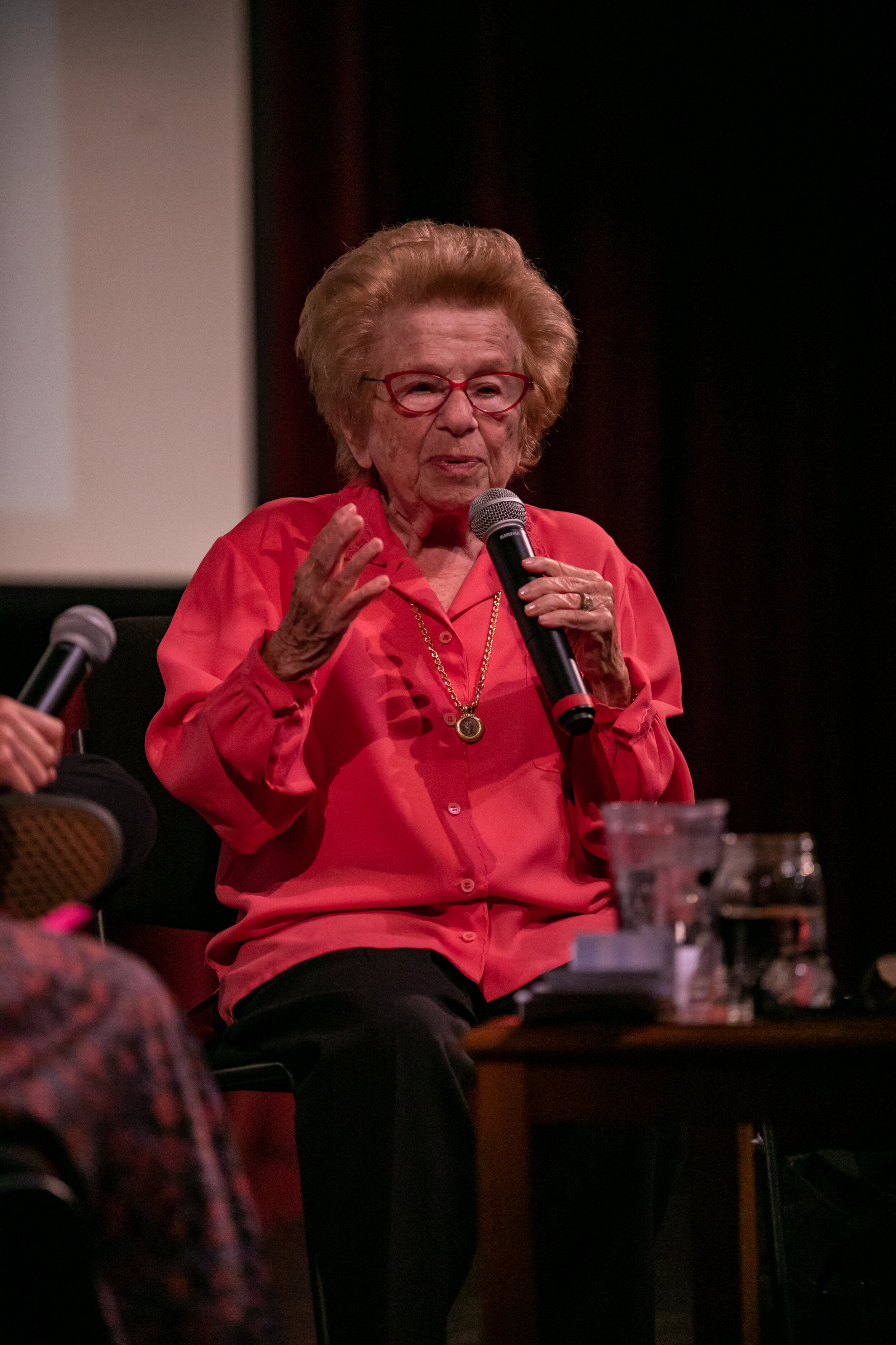 Discussion with Dr. Ruth herself after ASK DR. RUTH. Photo by Joshua Robinson-White.