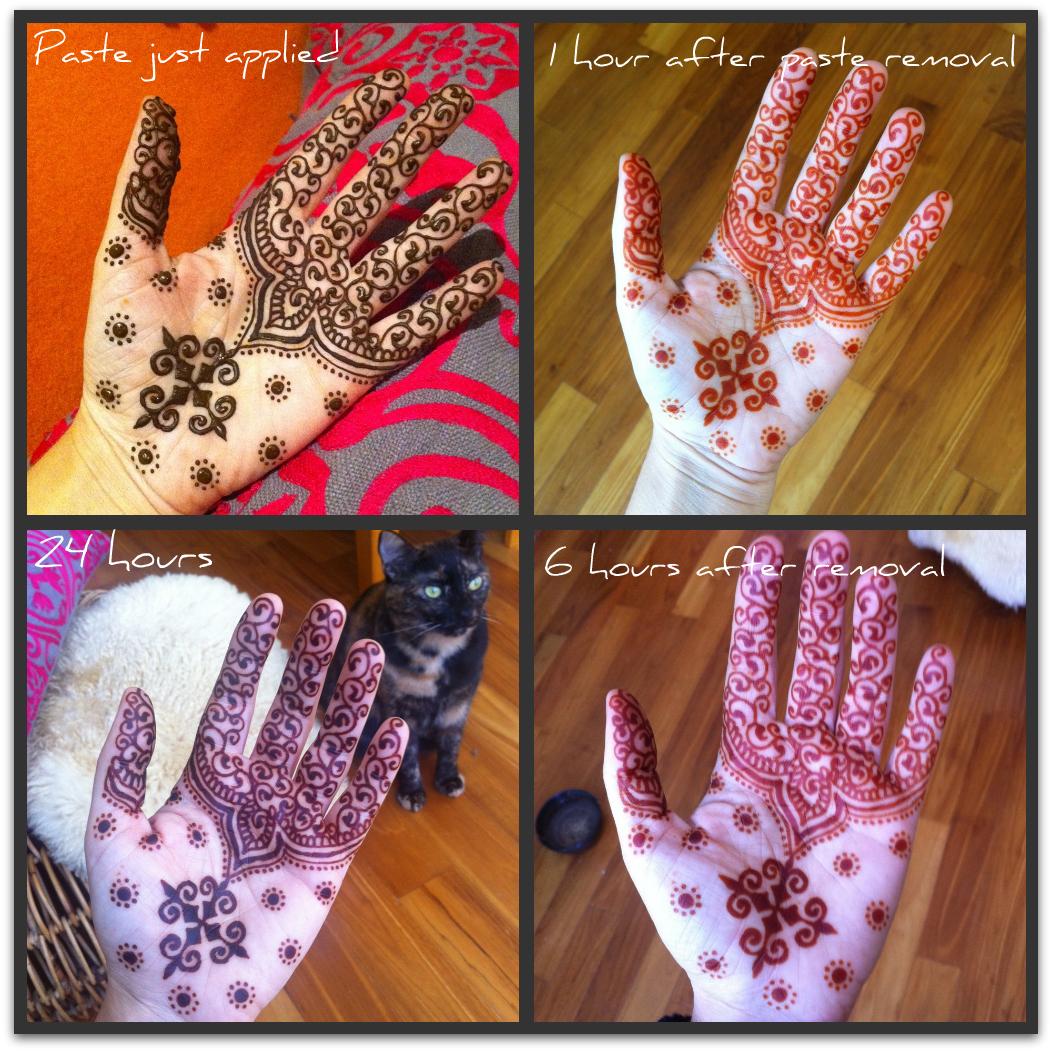 Clockwise henna stain progression