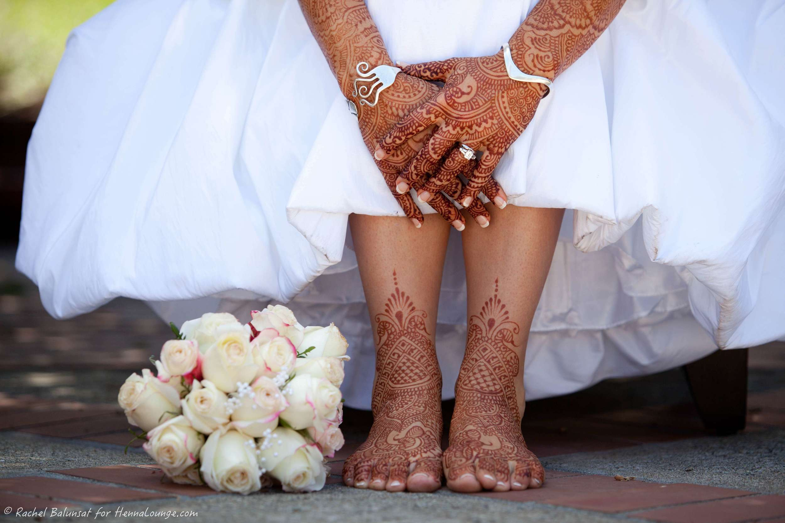 Henna takes the place of gloves or shoes in this Sonoma County wedding. Photo by Rachel Balunsat and henna by http://www.hennalounge.com