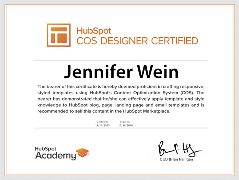 HubSpot COS Designer Certification