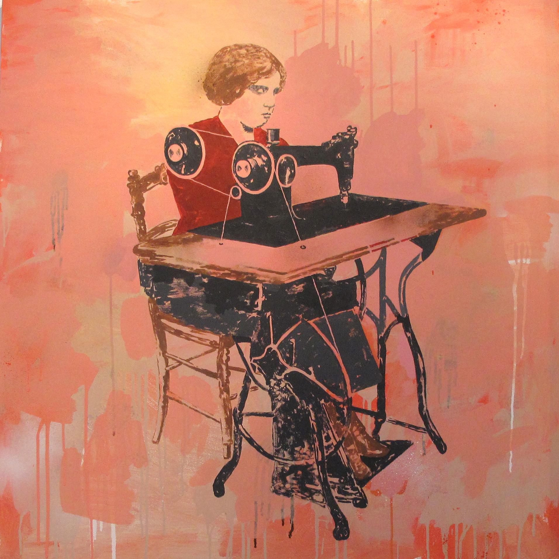 hemmed  acrylic on canvas © 2010 (120 x 120cm)