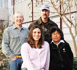 Friends and colleagues of Dave Bucknam meet with Elizabeth Fortushniak at Mesa State. (L to R) Russ Walker, Professor, Mesa State College; Paul Krabacher,  Colorado Inactive Mine Reclamation Program; Elizabeth Fortushniak;  Loretta Pineda, Colorado Inactive Mine Reclamation Program.