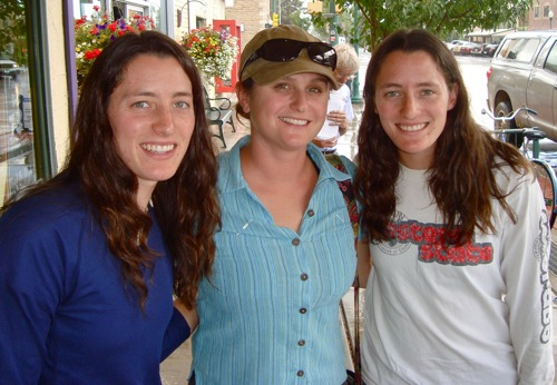 Marcella and Aleshia Fremgen receiving their  scholarship checks from Tara Tafi (center) of the Colorado Division of  Reclamation, Mining & Safety, in Gunnison, Colorado