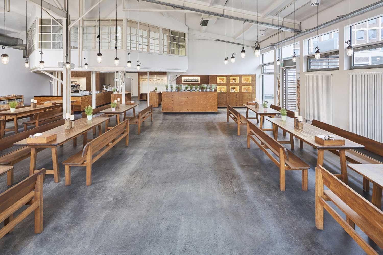 Architekturfoto des Restaurants Purino in Köln, Restaurantbereich, Innenaufnahme