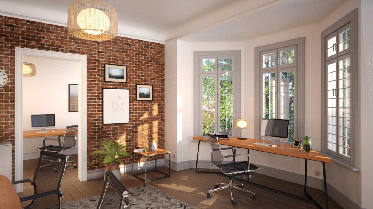 3d-visualisierung bzw CGI eines Arbeitszimmers